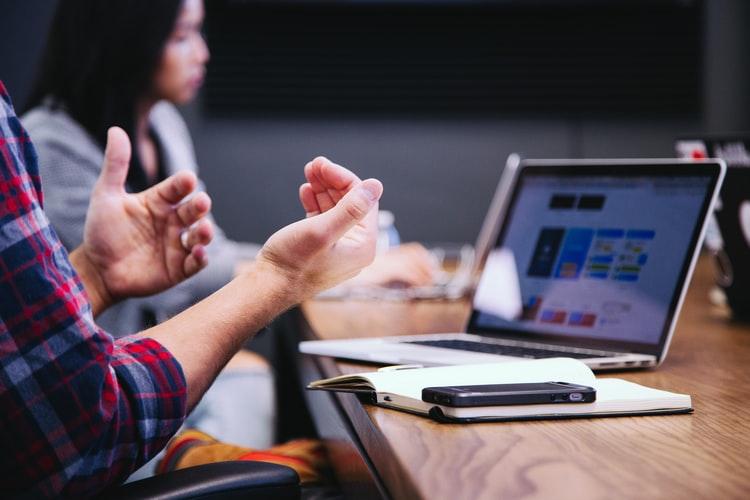 hands gesturing in a meeting