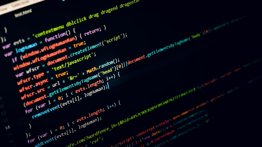 black screen displaying computer code